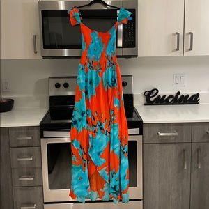 On The Road orange & turquoise tropical maxi dress